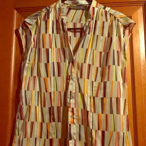 Limited multi-color cap sleeve button down, size S